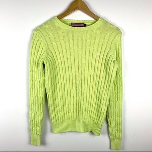 Vineyard Vines Lime Green cable Knit Sweater M